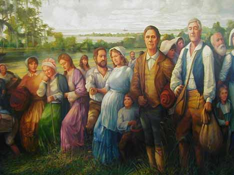 Detail from 'The Arrival of the Acadians' by Robert Dafford