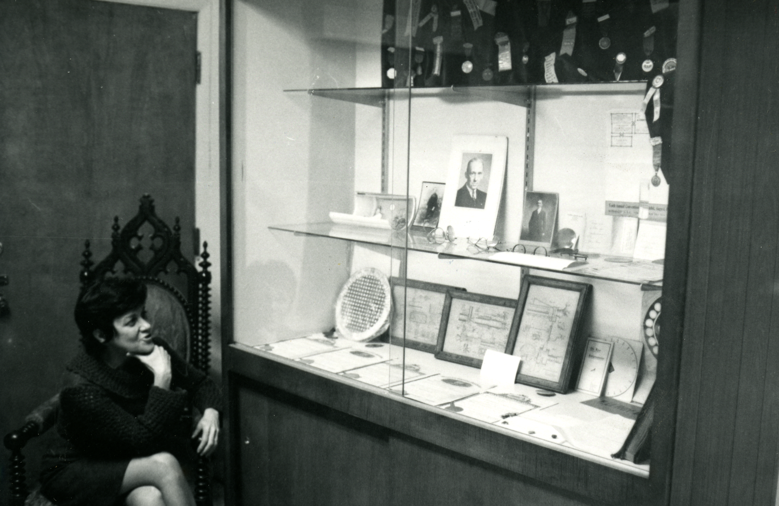 Maria Dablemont at the International Library, Archives & Museum of Optometry, 1971