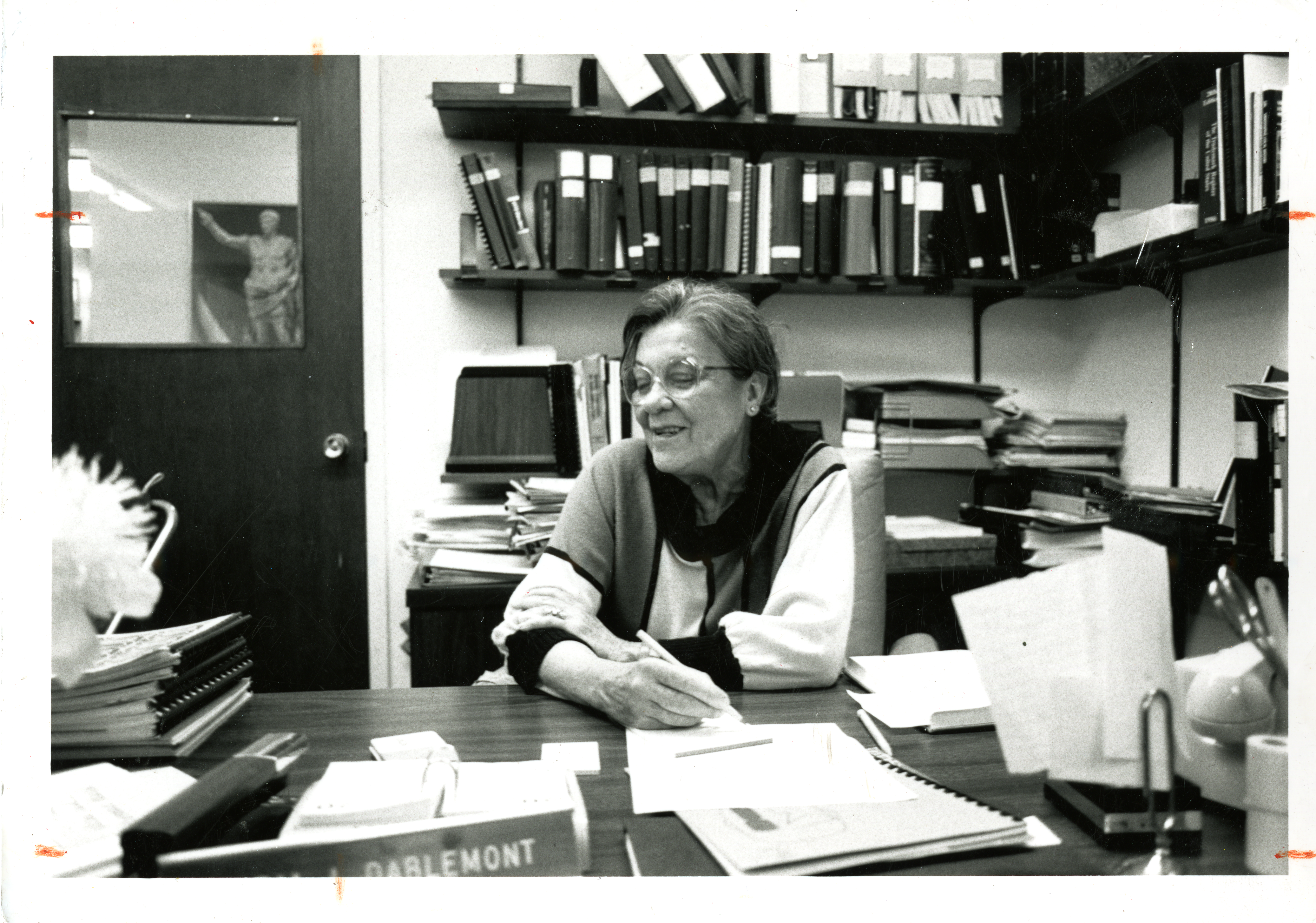 Maria Dablemont at the International Library, Archives & Museum of Optometry, 1988