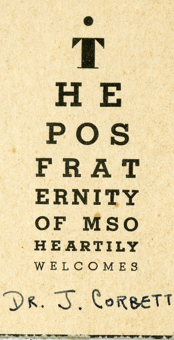 Picture of Phi Omicron Sigma fraternity welcome card in the form of a Snellen eye chart awarded to John Corbett