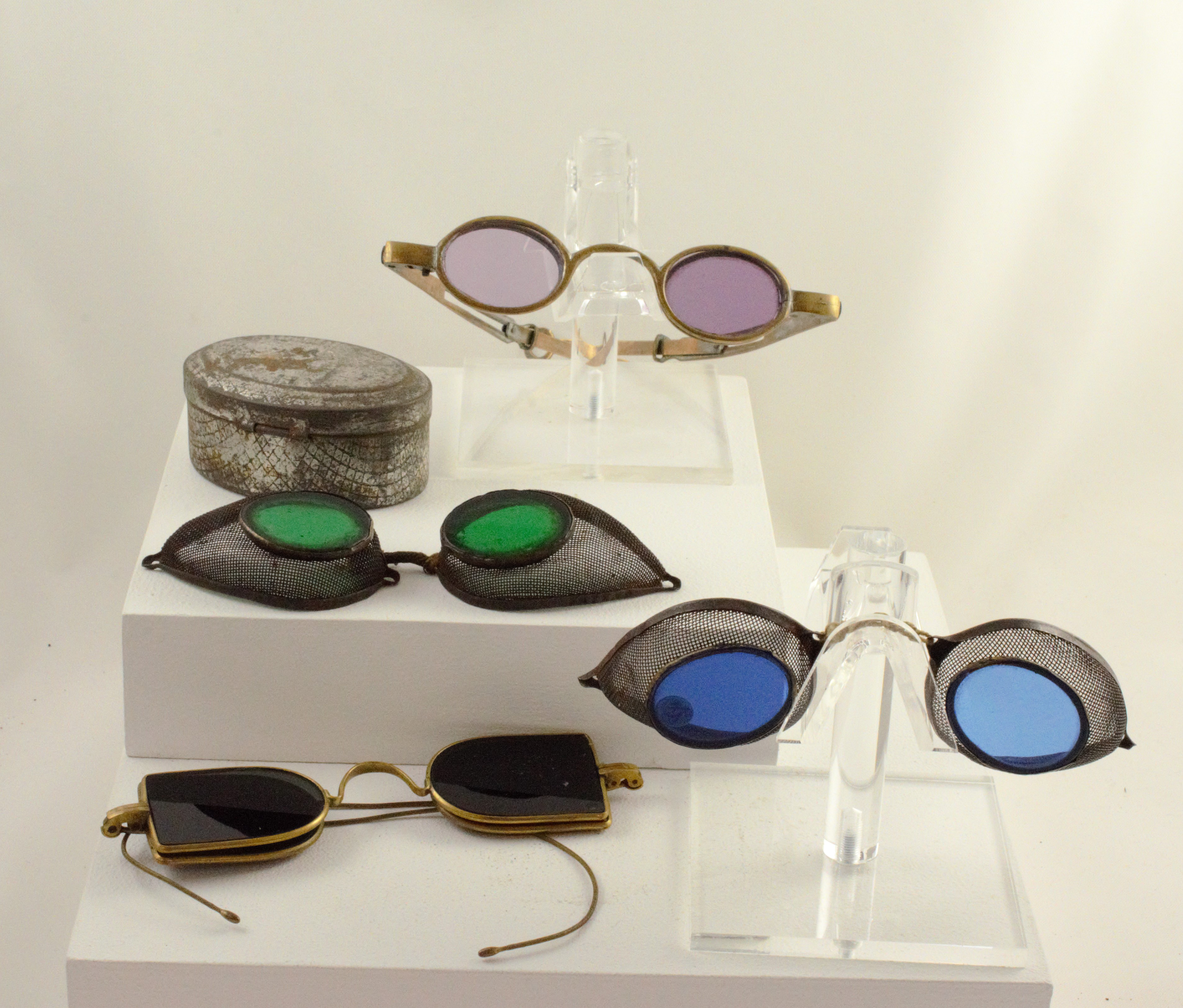Photograph of tinted railroad goggles from The Archives & Museum of Optometry