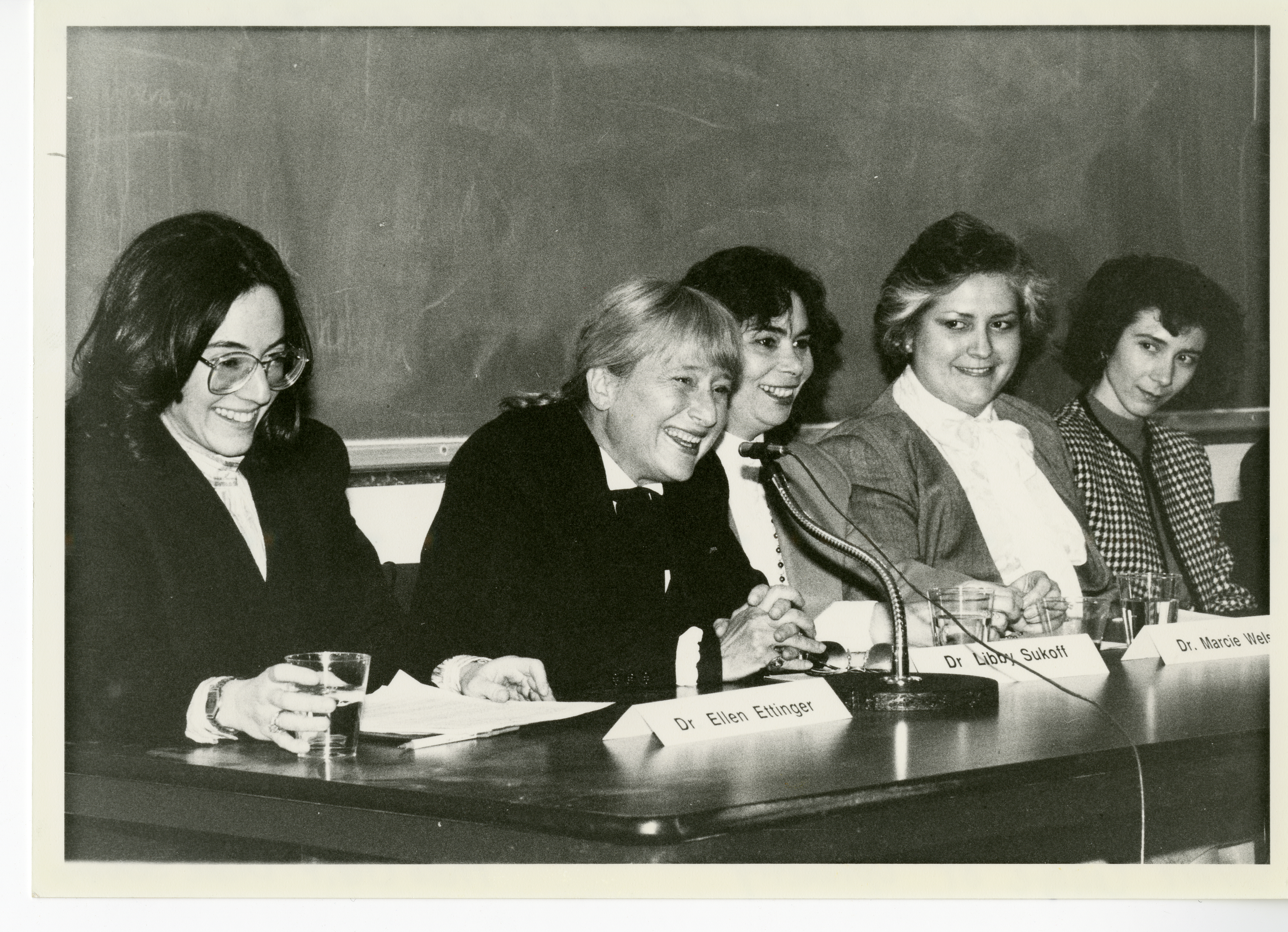 Women in Optometry Panel, SUNY, 1988. (L-R) Drs. Ellen Richter Ettinger, Libby Sukoff, Marcie Welsch, Madeline Romeu, and Monique Picard-Root. Image courtesy The Archives & Museum of Optometry