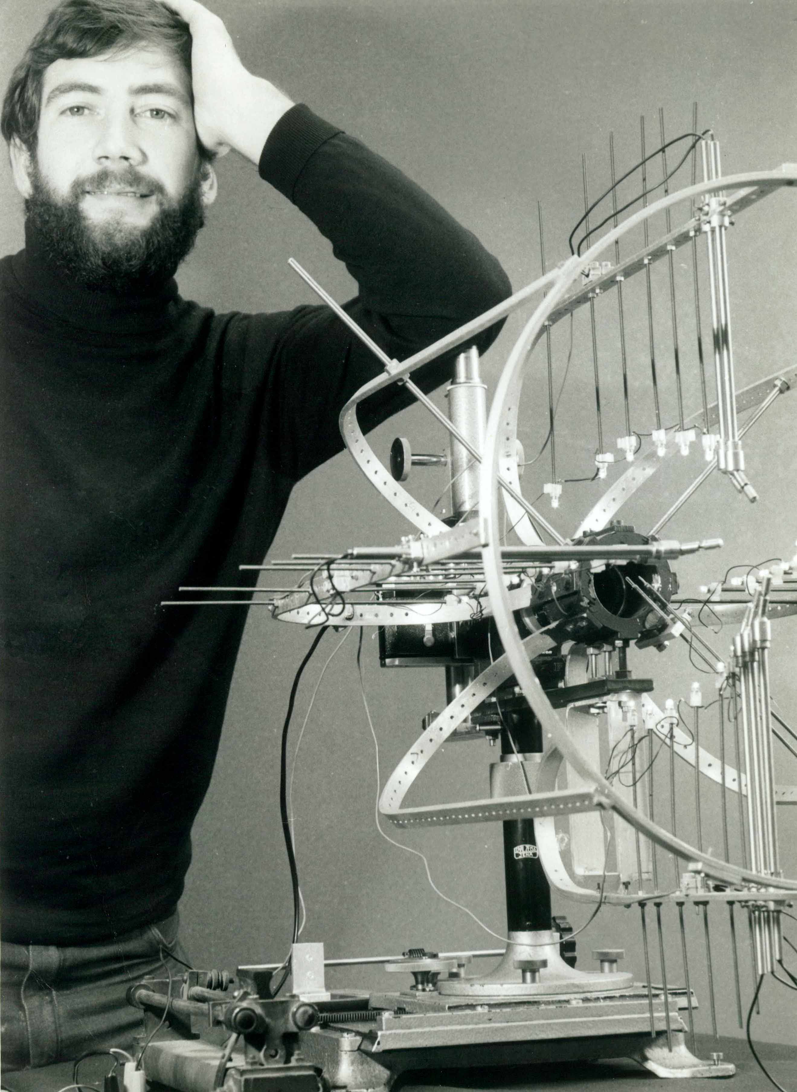 Brien Holden with his construction to measure corneal topography (PhD thesis).