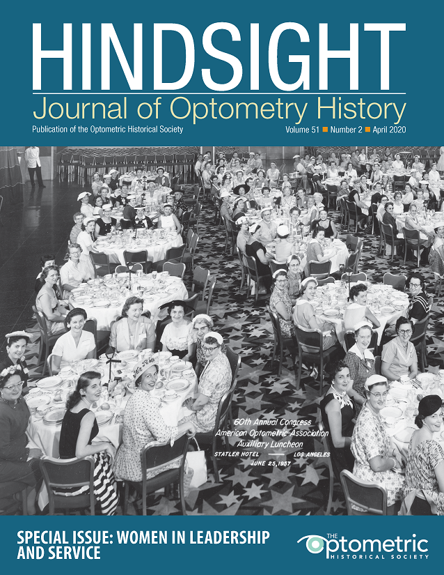 Cover of Hindsight featuring photograph of the AOA Woman's Auxiliary Banquet, June 25, 1957