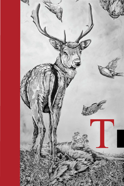 Cover of 2019 Tributaries: B/W image of an antlered deer , a  wolf skin, and birds flying.