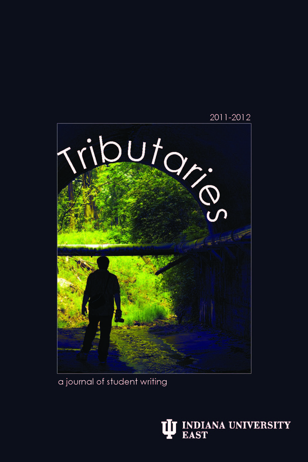 Cover Image 2011-Black Background, greelight silhouetting a human figure in an outside entry.