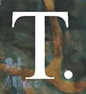 Tributeries Logo-Capital T, 200 pixels in height, smaller fon. Below the T is the word Tributeries, about 16 points, serif- possibly Times New Roman.
