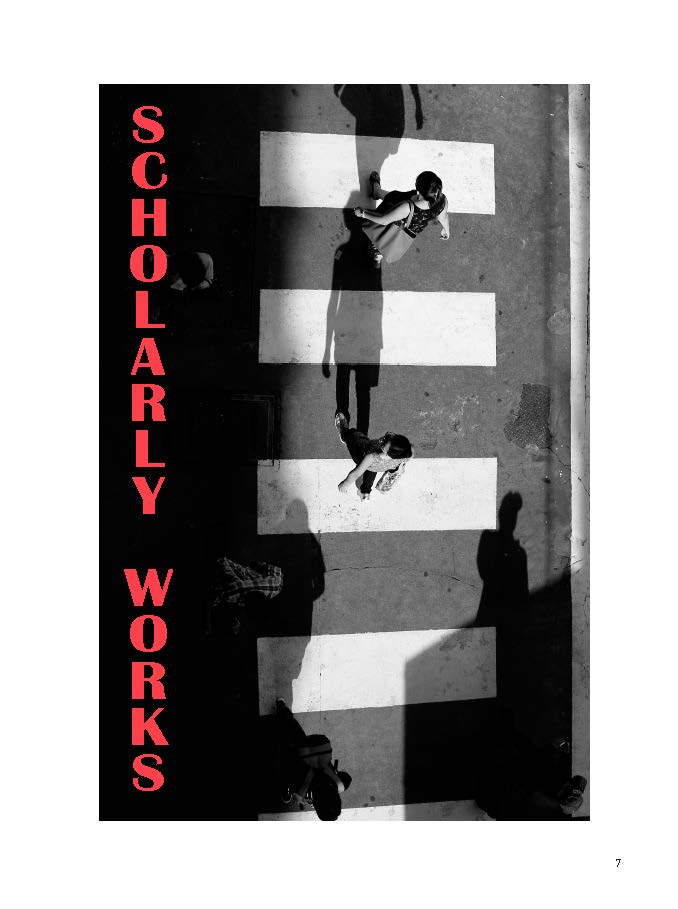 jpeg image of people in a street cross-walk, B&W with red letters for Scholarly Works