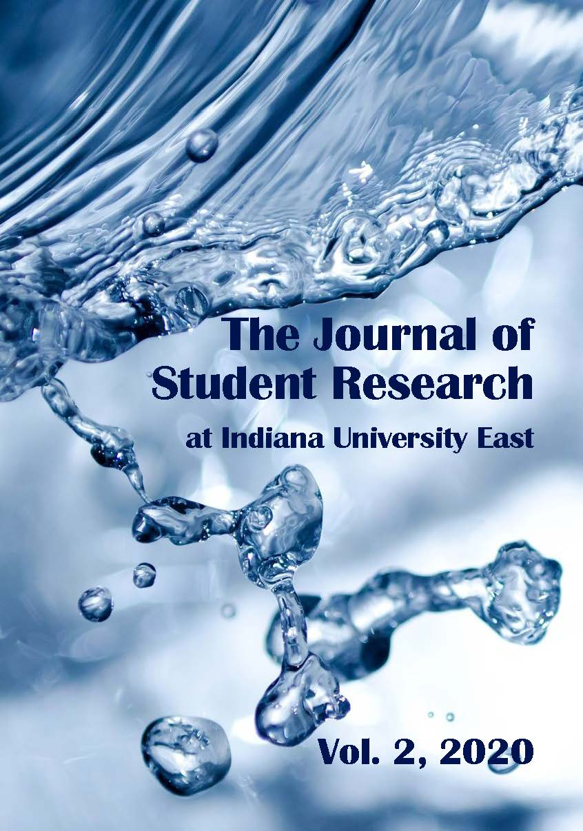 jpeg - background image of water & drops in blue-to-white tones of v2 2020 issue of the Journal of Student Research at IU East
