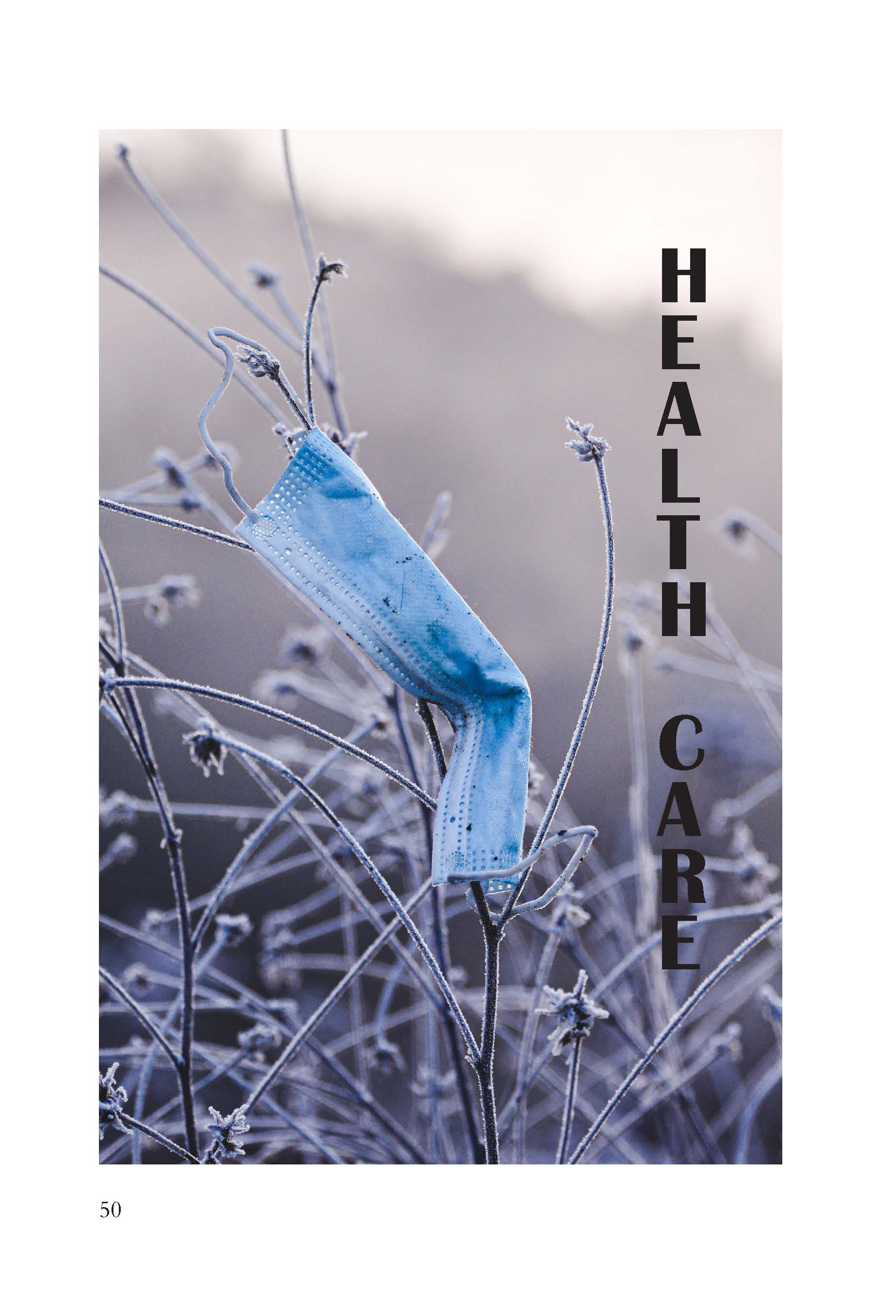 Image-gray field with blown blue face mask Health Care section page.