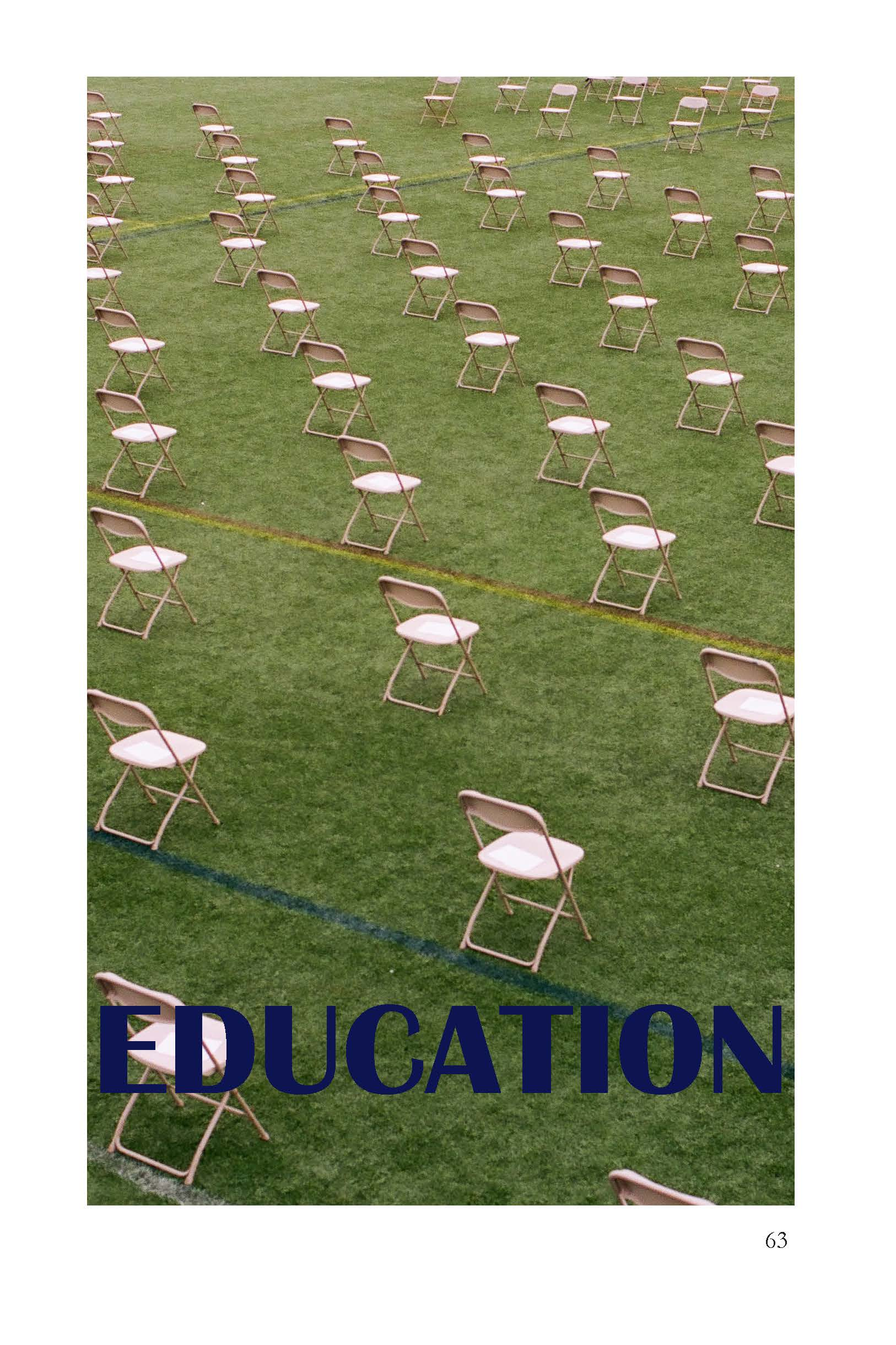 Image of white, folding chairs - spaced 6ft apart on a grass field - EDUCATION sectionpage