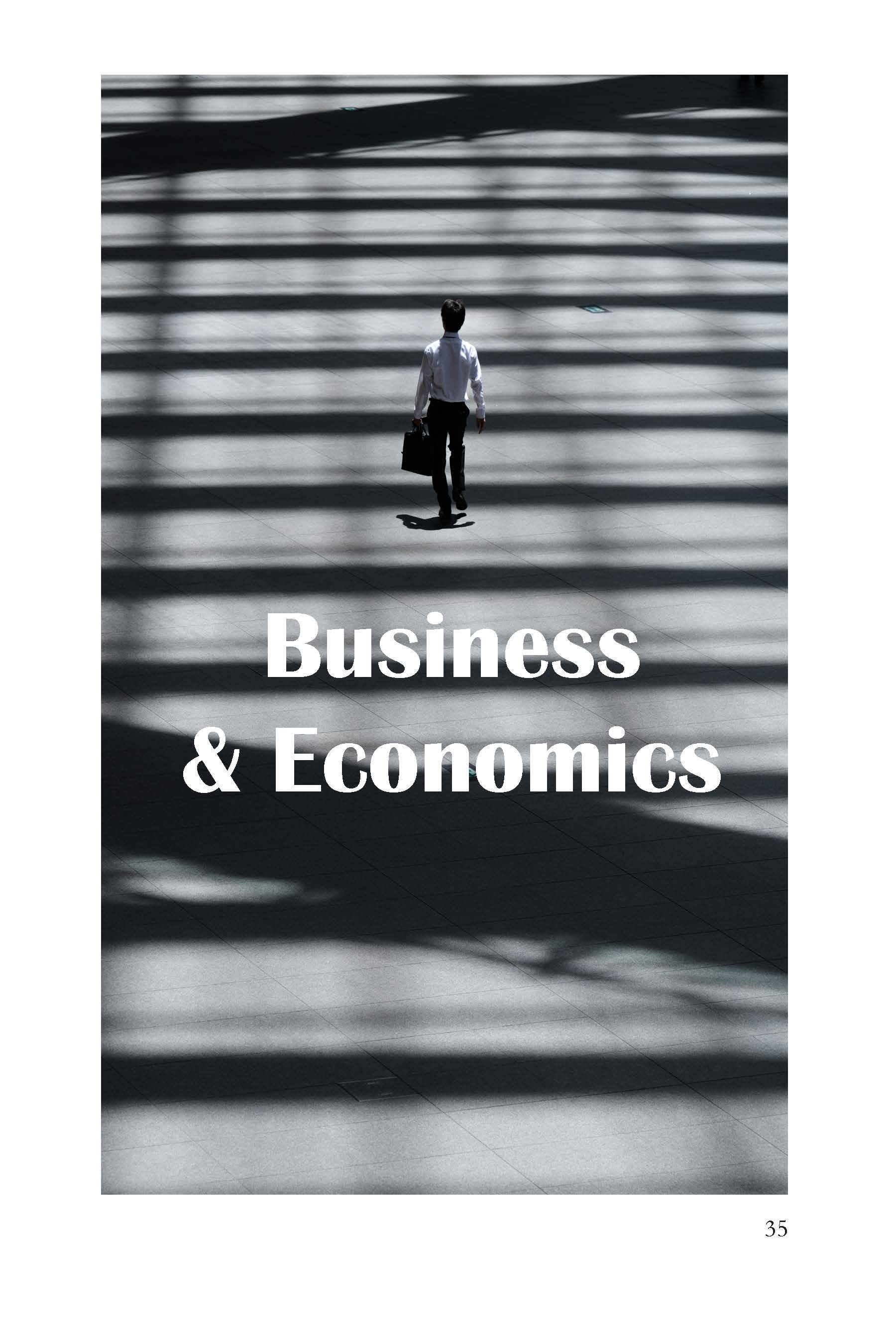 Image is abstract, lines of shadow and light background, gray tones, lone person walking away, Business & Economics section page