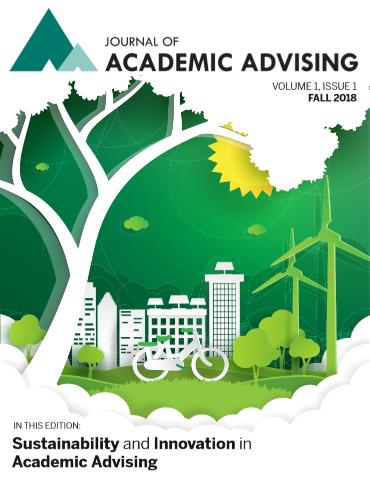 Cover of Journal of Academic Advising's first issue